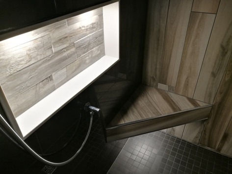Custom Shower With Tiled Bench