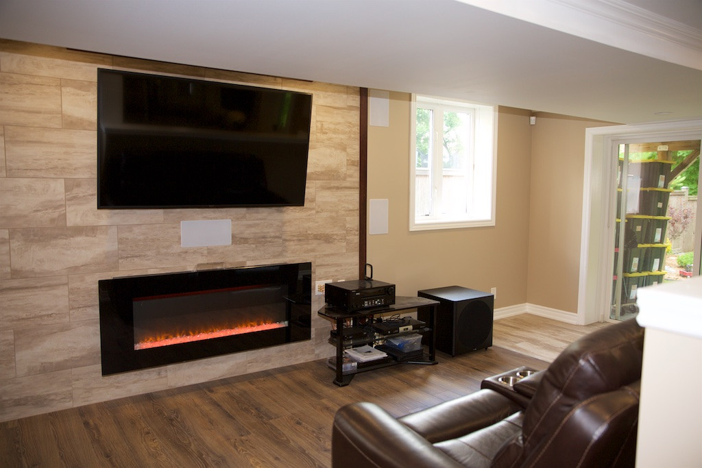 Theater Room With Fireplace
