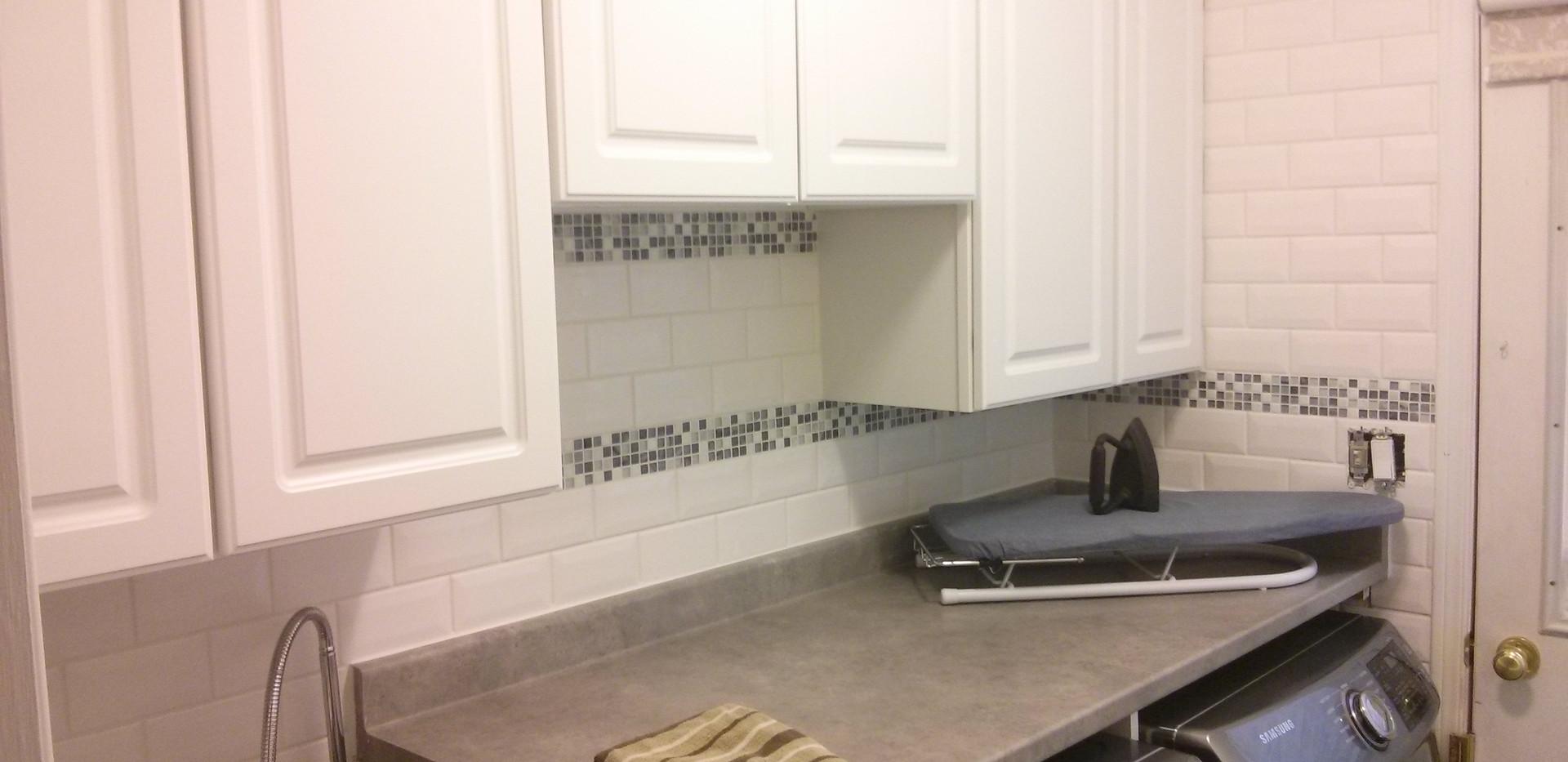Laundryroom Subway Tile Backsplash with