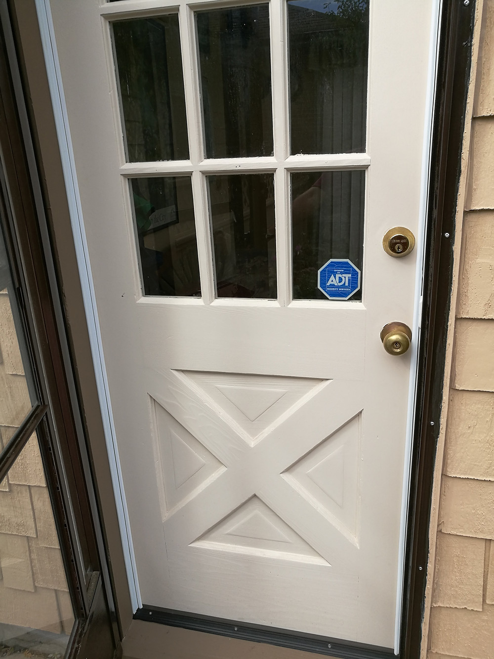 Repainted and repaired entry door