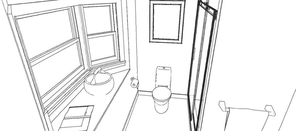 Bathroom Concept Line Drawing