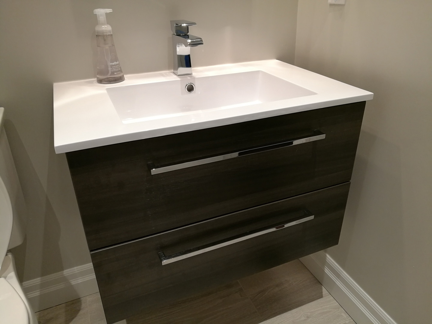Floating Vanity With Chrome Faucet