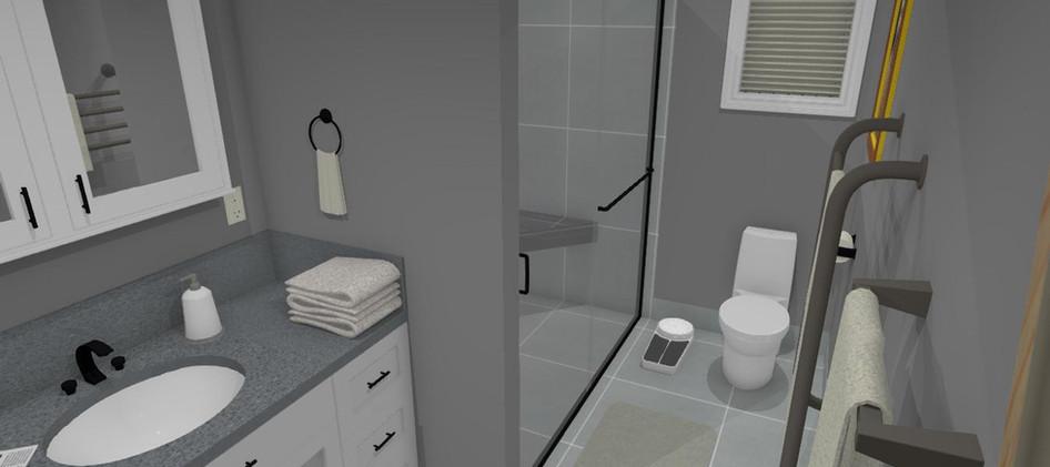 Basement Bathroom 3D Rendering