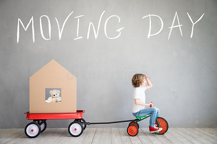 child-new-home-moving-day-house-concept-