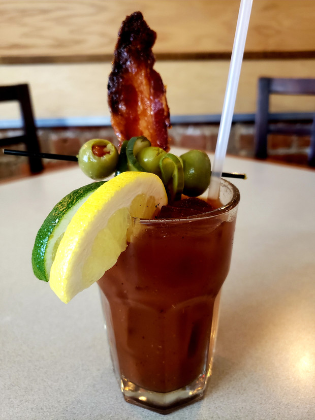 Bloody Mary with Smoked Tomato Jam candied bacon