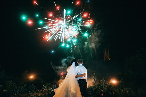Wedding couple are looking to the firewo