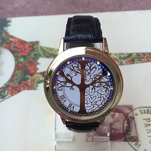 Cool LED Tree Touch Screen Steel Shell watches BGG Genuine Leather Strap Digital