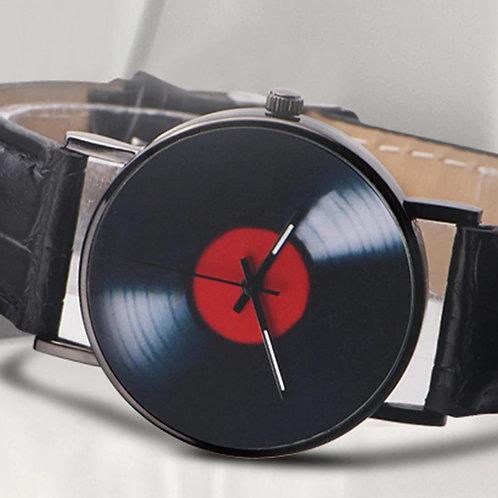 Retro Vinyl Record Dial Faux Leather Men Women's Watches Analog Quartz Wrist