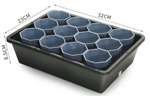 designer tray and grey pot for succulent plant