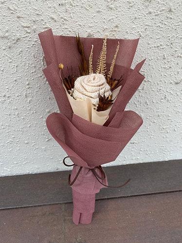 Everlasting Single Burlap rose bouquet
