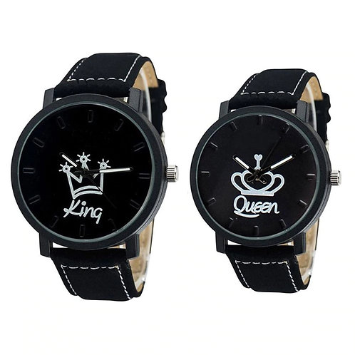 Newest Couple Watch Queen King Crown Fuax Leather Quartz Analog Wrist Watches Ch