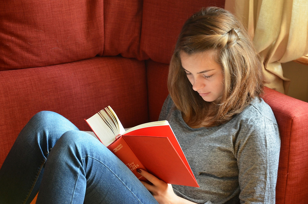 Young girl in a grey sweater and jeans reading a red book