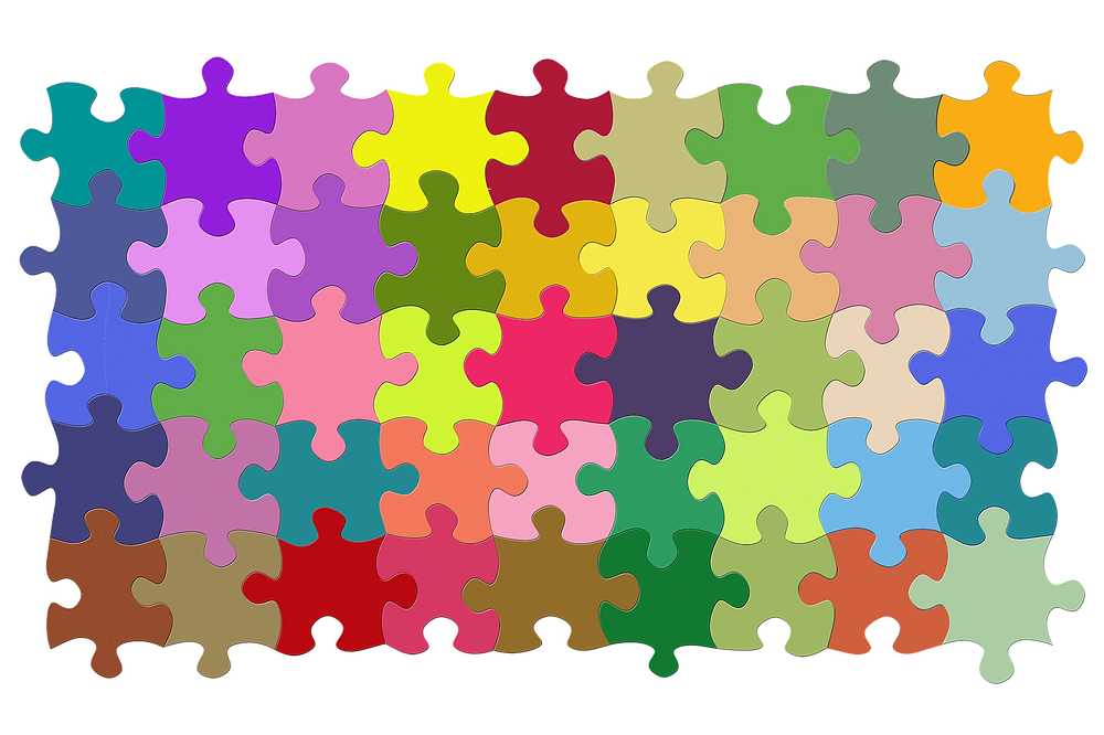 multicoloured puzzle pieces fit together
