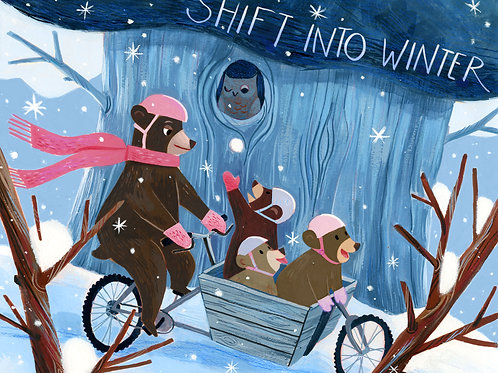 Shift into Winter- Winter Biking Print
