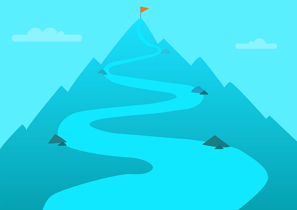 Animated mountain with a road leading to a flag at the top