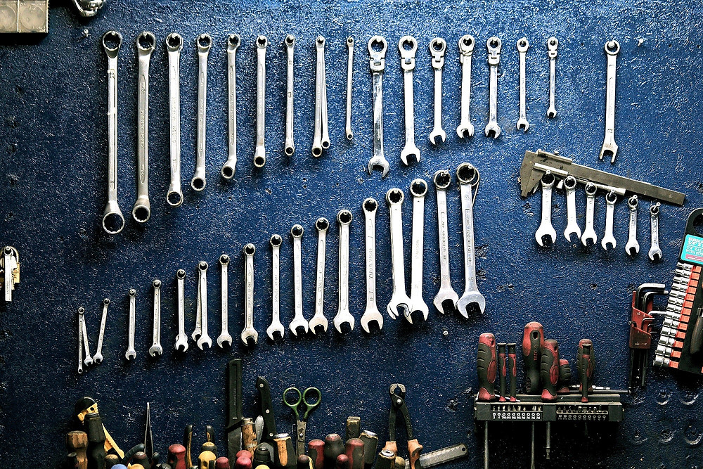 Tools on a blue wall