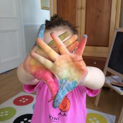 #littlehandsbigplans #busygirl  rainbow 🌈 bright handprints