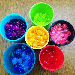 Sorting beads on a rainy day