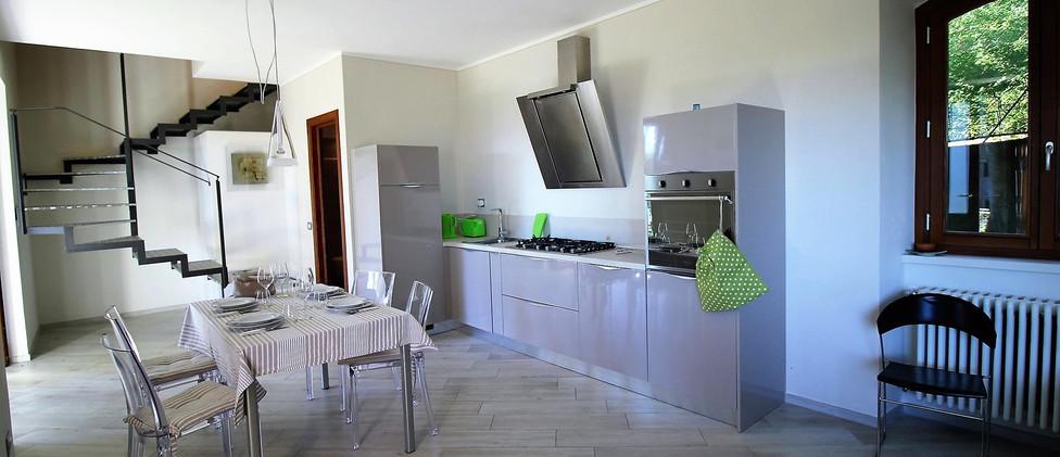 Cottage Alpino soggiorno con cucina