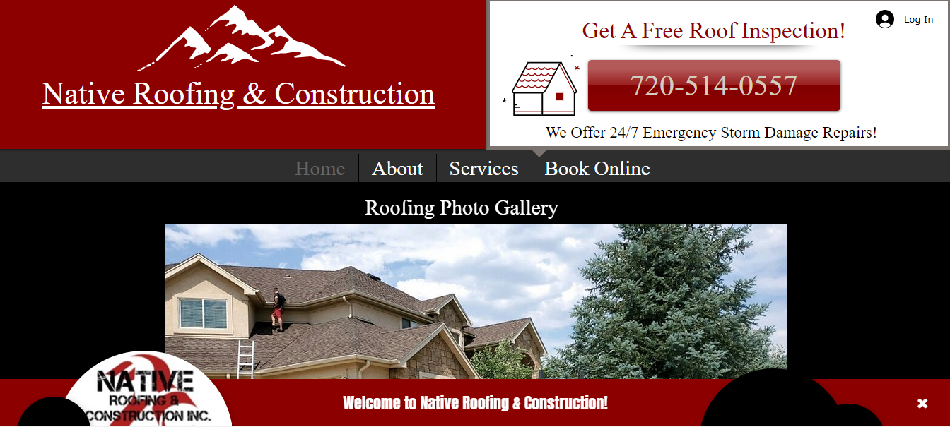 Native Roofing Website Design
