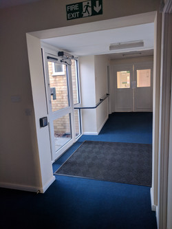 Hallway and automatic doors