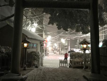境内もかなりの積雪です。落雪や凍結に十分お気をつけ下さい。