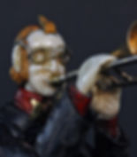 Тrombone_Player_18cm._Ivory,_Vanga_Mahogany,_Copper,_Brass,פיסול, בוריס צלניקר,  boris tselnicker, борис цельникер