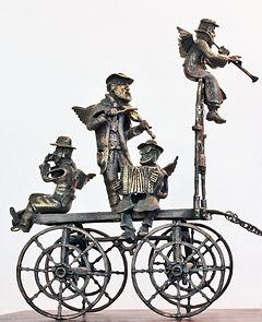 Kleizmer's cart 4 25x35x15cm. Bronza. 2010,פיסול, בוריס צלניקר,  boris tselnicker, борис цельникер