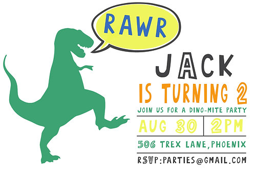 Dinosaur Invitation - Printed