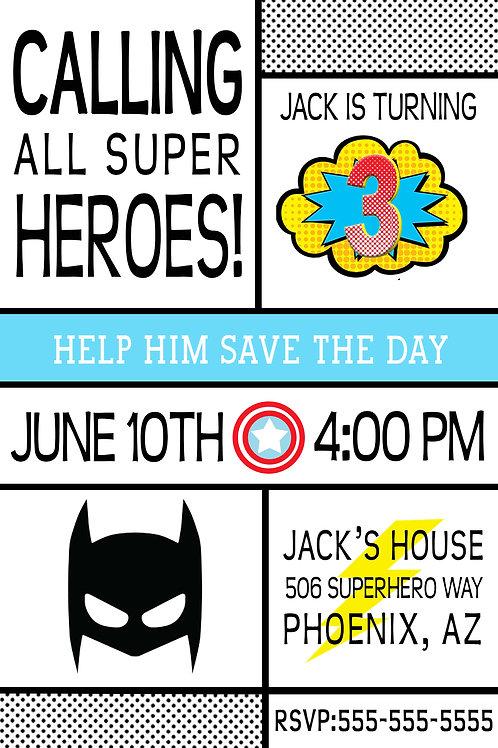 Superhero Invitation - Digital Download