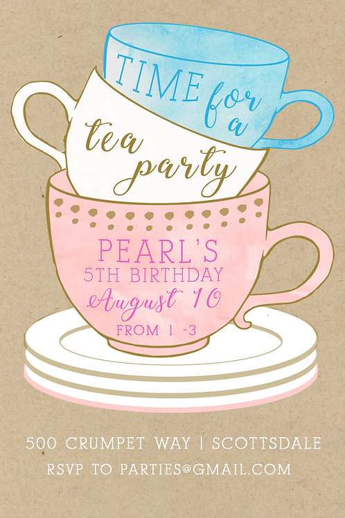Tea Party Invitation - Digital Download