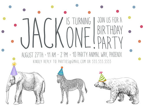Party Animal Invitation - Digital Download