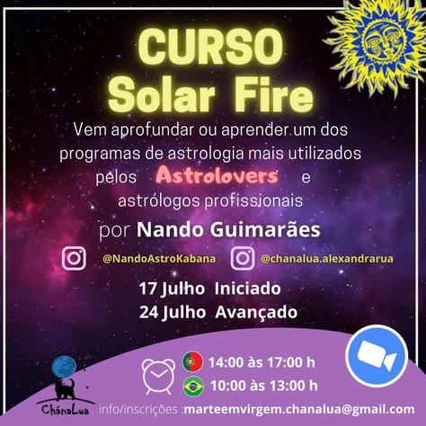 Curso Solar Fire by Nando Guimarães - 17 e 24 de Julho 2021 - 14h às 17h PT