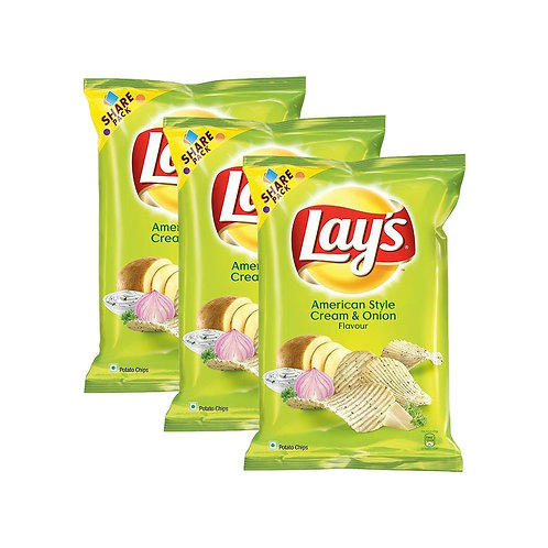 Lay's American Style Cream & Onion Chips - Pack of 3
