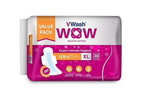 V Wash Wow Sanitary Napkin Ultra Thin, XL, 30 N