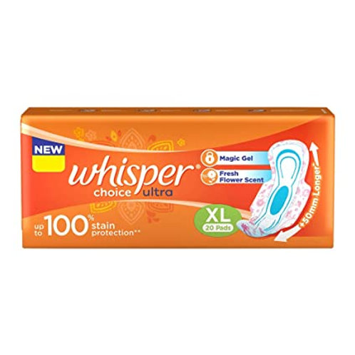 Whisper Ultra Clean Sanitary Napkin XL With Wings, 20 N