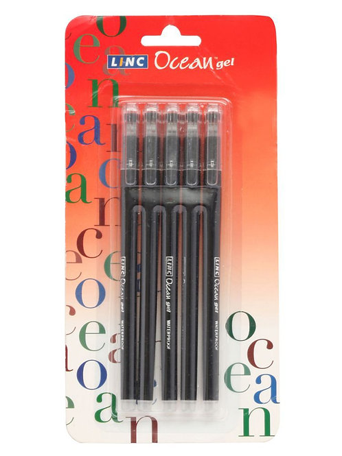 Linc Ocean Gel Pens Black, 5 N
