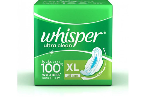 Whisper Ultra Clean Sanitary Napkin XL With Wings, 15 N