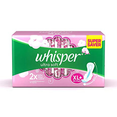 Whisper Ultra Soft Sanitary Napkin XL With Wings, 30 N