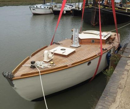 Scarbough sloop Solate on her re-launch
