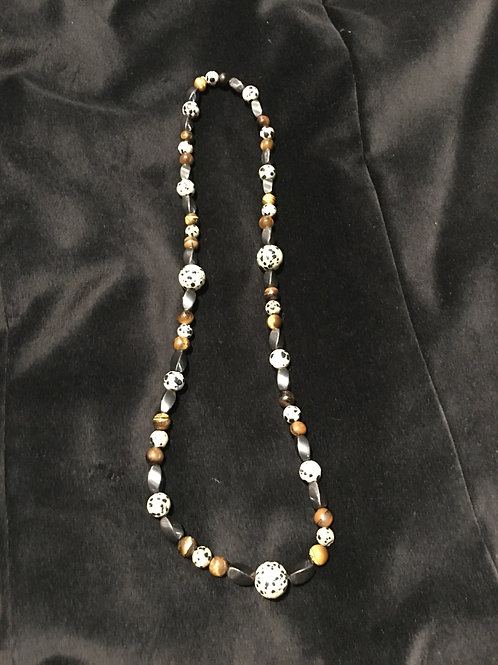 Exclusive Dalmatian Stone Beaded Necklace