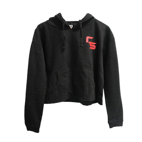 Complete Strength Cropped Black Emblem Hoodie