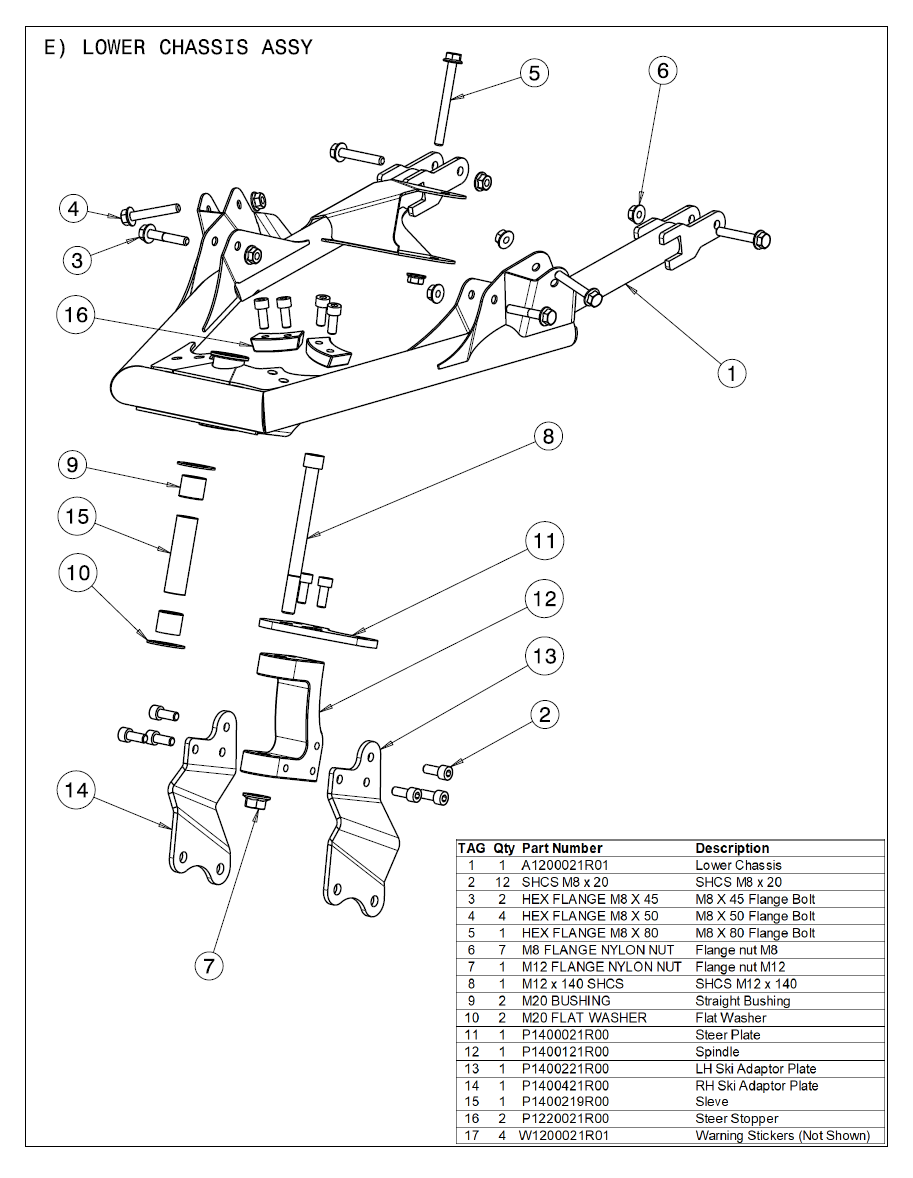 2021 Part List E Lower Chassis Assy