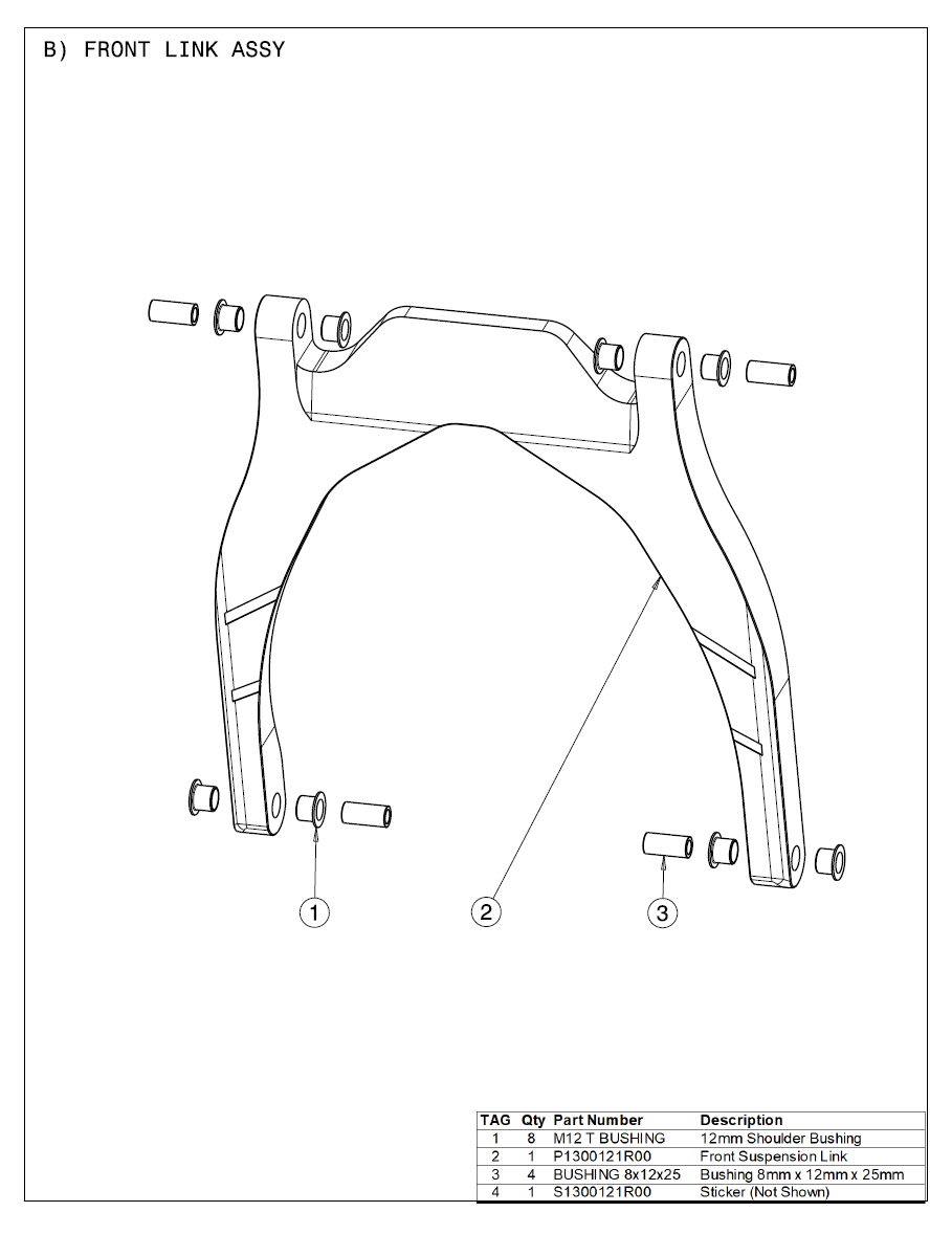 2021 Part List B Front Link Assy