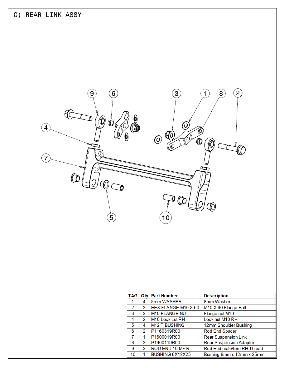 2021 Part List C Rear Link Assy