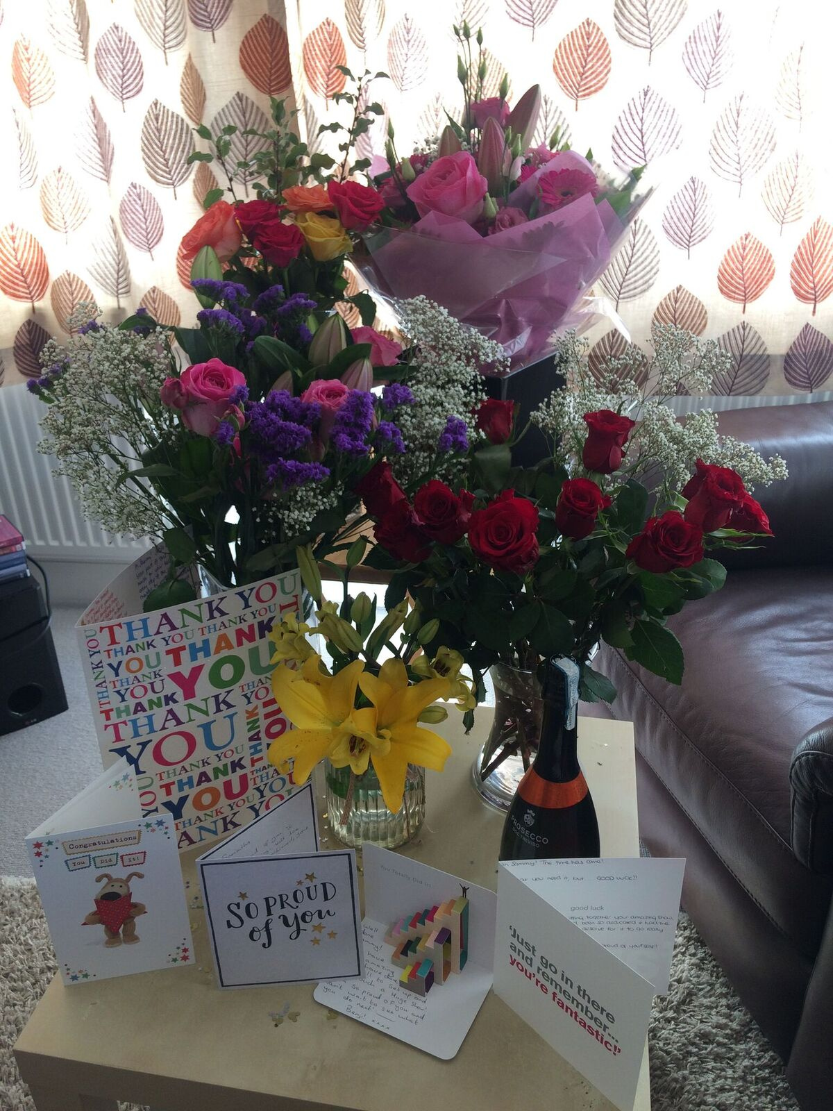 Beautiful thank you flowers and card