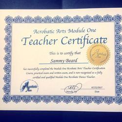 Sammy's Acrobatic Arts Certificate