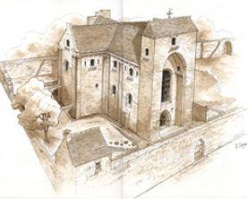 Dessin de l'église et des remparts