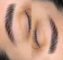 3 brow lamination voor en na foto bellez