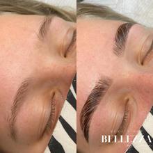 brow lamination voor en na foto bellezza